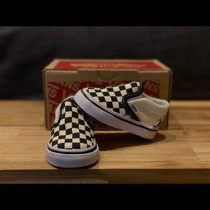 Infant Van Slip On Blk&White Checkerboard Size 2